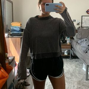 Free People Cropped Crew Neck w button detailing